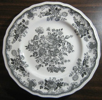 Gray Black Butterfly Mum Vintage Large Decorative Plate