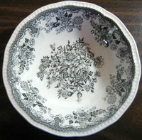 Black Grey Toile Butterfly Mum Poppy Bird Vintage Bowl