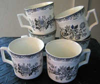 Six Black Grey Toile Butterfly Mum Poppy Bird Vintage Tea Cups