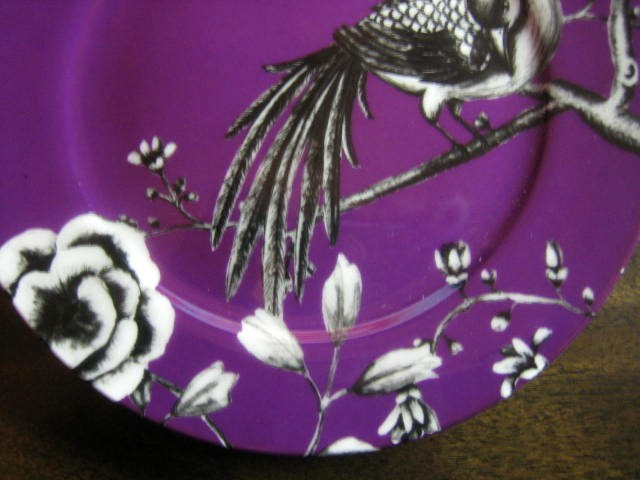 Purple Plum Black White Bird Branch Plate edge www.DecorativeDishes.net