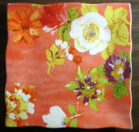 Bright Watermelon Pink Purple Yellow Floral Square Plate Tile
