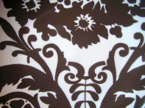 Brown White Wallpaper Ikat Style Exotic Flower Toile Plate center www.DecorativeDishes.net