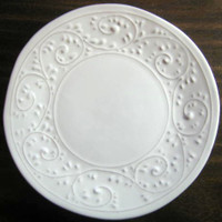 White Textured Primative Scroll Leaf Italy Plate M