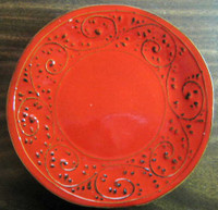 Red Textured Primative Scroll Leaf Italy Plate M