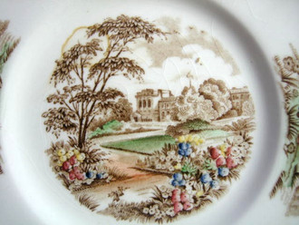 Brown Toile Multi Hand Color Castle Garden Vintage Plate S