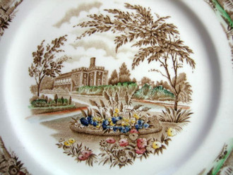 Brown Toile Multi Hand Color Castle Garden Vintage Plate M