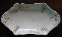 Decorative Plate Tray - Antique Sweet Roses Ribbons Gold Trim Small