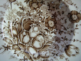 Brown Toile Transferware Tulip Vintage 3-D Flat Bowl