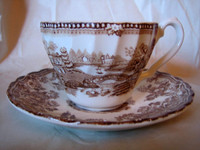 Brown swan cup and saucer