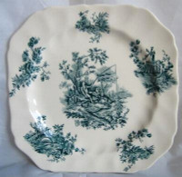 Blue Green Toile Boy Girl Fishing Square Vtg Plate