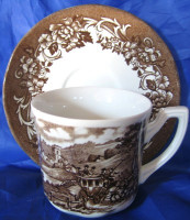 Brown Toile England Horses Vintage Cup Saucer