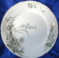 Antique Shabby Dark Green Toile Gold Poppy Plate