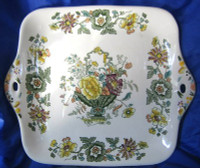 Green Yellow Purple Toile Handled Basket Tray