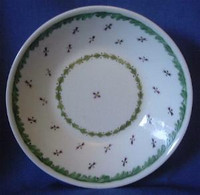 Antique Hand Painted Green Purple Cup Plate