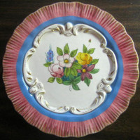 Pink Blue Gold Handpainted Rose Scroll Made in Italy Plate