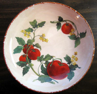 Decorative Bowl - Botanical Tomato Vines Brown Edge Medium Size Italy