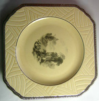 Art Deco Platinum Edge Black Ivory Toile Exotic Square Plate