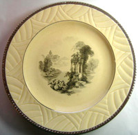 Art Deco Platinum Edge Black Ivory Toile Exotic Plate L