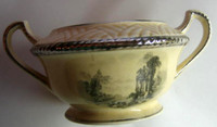 Art Deco Platinum Edge Black Ivory Toile Exotic Handled Bowl