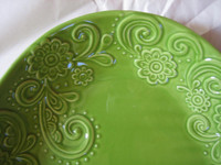 Decorative Bowl - Spring Green Huge Textured Scoll Huge Size Oval