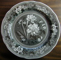 Grey Black Toile Transferware Daffodil Exotic Plate