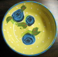 Art Pottery Yellow Dots Blue Roses Lavender Bowl