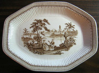 Brown Toile Transferware Victorian Ladies Guitar Exotic Octagonal Platter