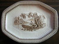 Brown Toile Transferware Victorian Lady Boat Exotic Octagonal Small Platter