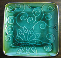 Aqua Green Lotus Scroll Swirl Square Plate Tile