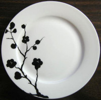 Black on White Blossom Branch Urban Chic Bone China Plate