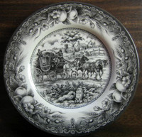 Black Toile Transferware Horses Carriage Fruit Plate M