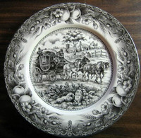 Black Toile Transferware Horses Carriage Fruit Plate L
