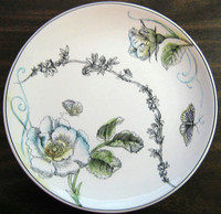 Decorative Plate - Black White Butterfly Rose Colored Green Blue Large Size