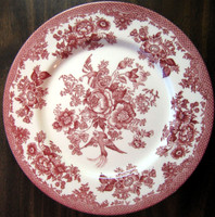 Pink Red Toile Rose Exotic Bird Paris Chinoiserie Plate L
