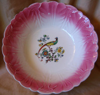 Decorative Bowl - Vintage USA Pink Textured Exotic Bird Shabby