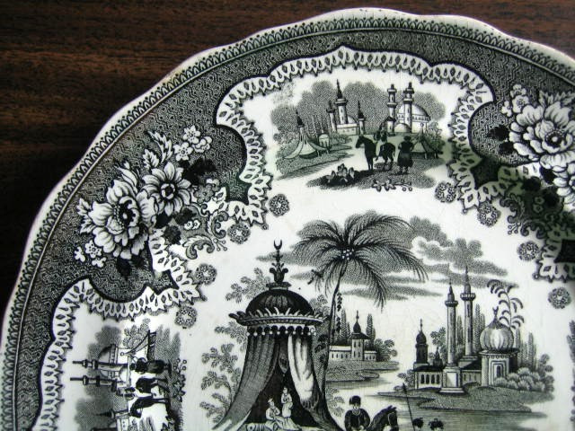 antique black transferware plate edge www.DecorativeDishes.net