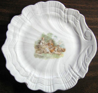Shabby Cottage White Shell Romantic Couple Lamb Dish b