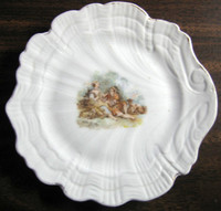 Shabby Cottage White Shell Romantic Couple Lamb Dish a