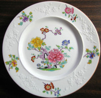 Chinoiserie Exotic Rose Textured Blossom Edge White Plate