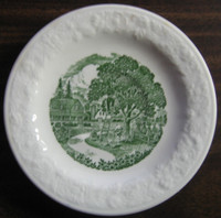 Green Toile Girl Picking Apples Textured Plate S