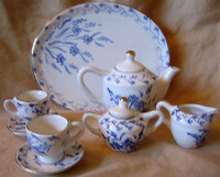 Doll Tea Set - Elegant Miniature Blue White Gold Leaf Teapot Cups Sugar Creamer Tray