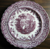 Antique Purple Toile Transferware Couple Mandolin Exotic Plate L