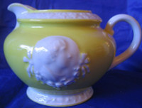 OLD 1920's Yellow White Cameo Small Pitcher