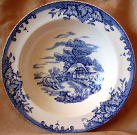 Decorative Bowl - Blue Toile Transferware  Flat Edge 3-D Horses Cottage