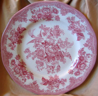 Decorative Plate - Pink White Toile Exotic Birds Roses Shabby