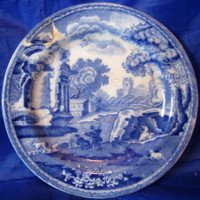 Antique Spode Italian Italy Blue White Miniature Plate