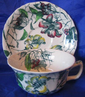 Green Toile Lily Berries Ivy Hand Paint Cup Saucer