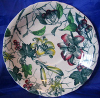 Green Toile Lily Berries Ivy Hand Painted Dish