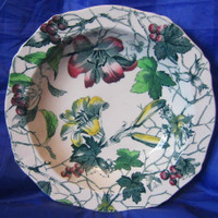 Green Toile Lily Berries Ivy Hand Painted Bowl L
