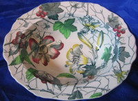 Green Toile Lily Berries Ivy Hand Paint Oval Bowl